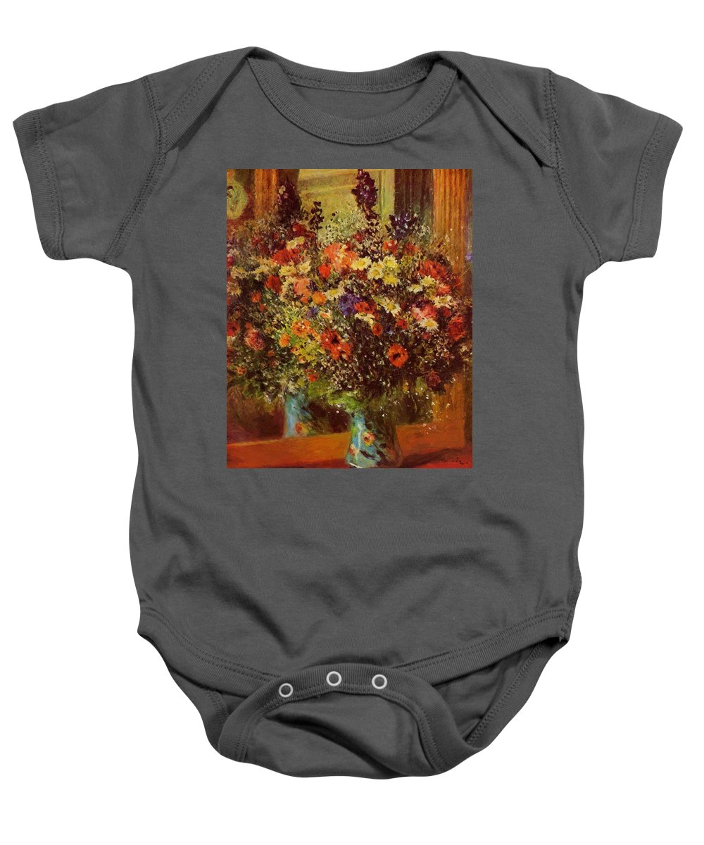 Bouquet Baby Onesie featuring the painting Bouquet In Front Of A Mirror 1877 by Renoir PierreAuguste