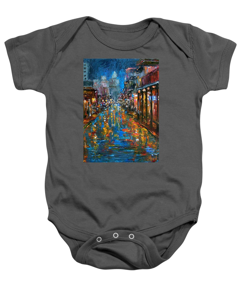 New Orleans Baby Onesie featuring the painting Bourbon Street Blues by Debra Hurd