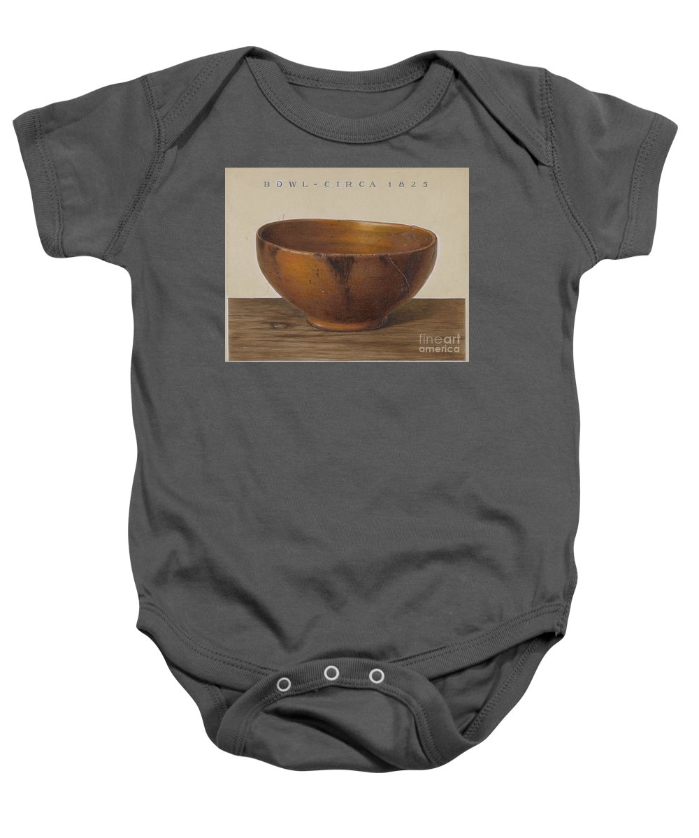 Baby Onesie featuring the drawing Bowl by Philip Smith