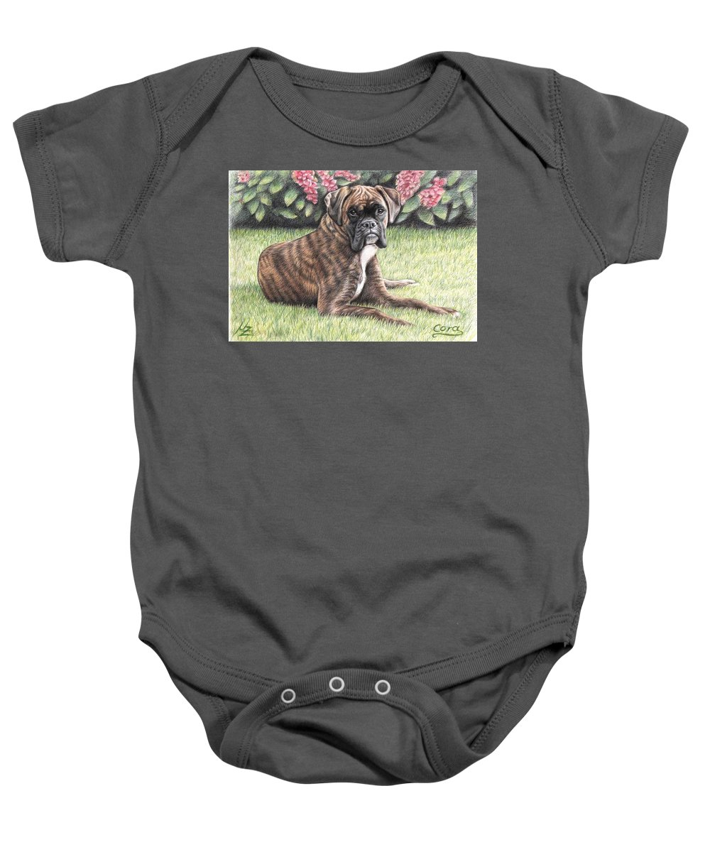 Dog Baby Onesie featuring the drawing Boxer Girl by Nicole Zeug