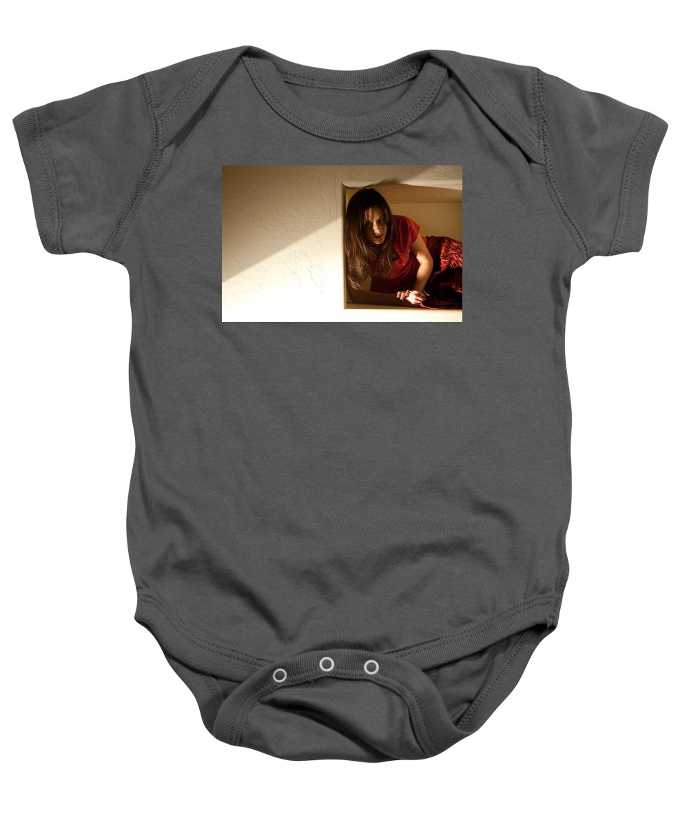 Woman In Box Baby Onesie featuring the photograph Boxes by Scott Sawyer