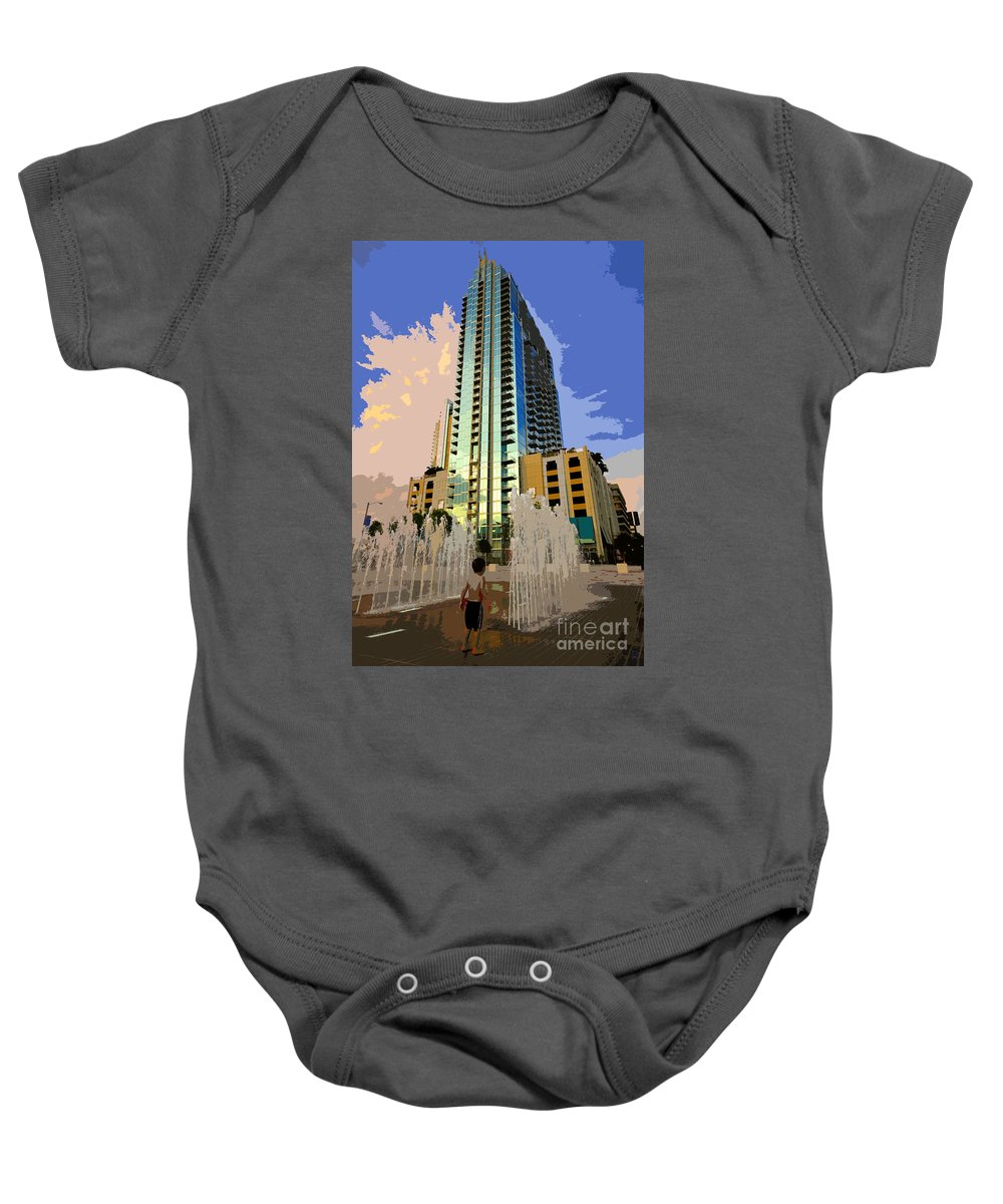 Boy Baby Onesie featuring the painting Boy Growing Up by David Lee Thompson