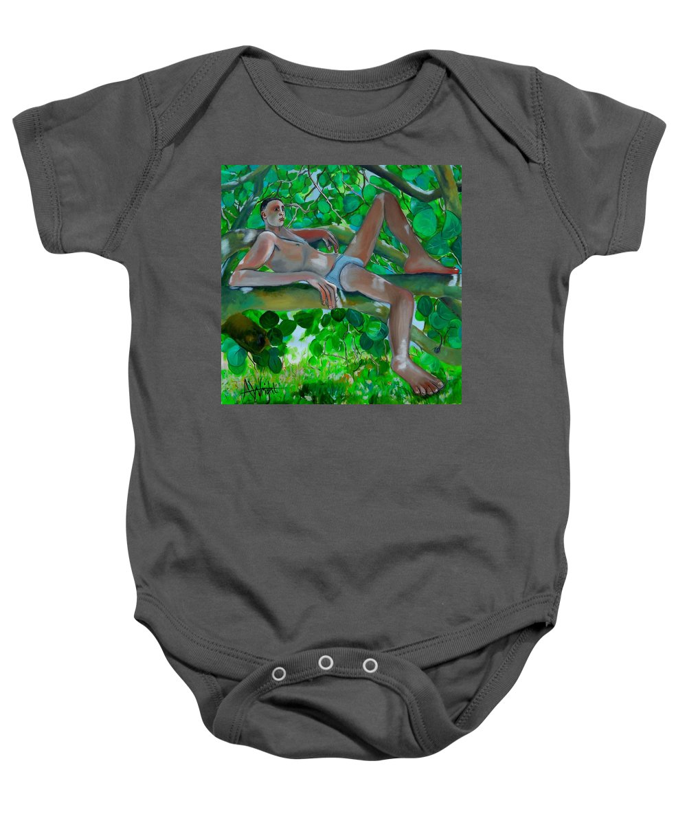 Boy Baby Onesie featuring the painting Boy In A Tree by Angie Wright