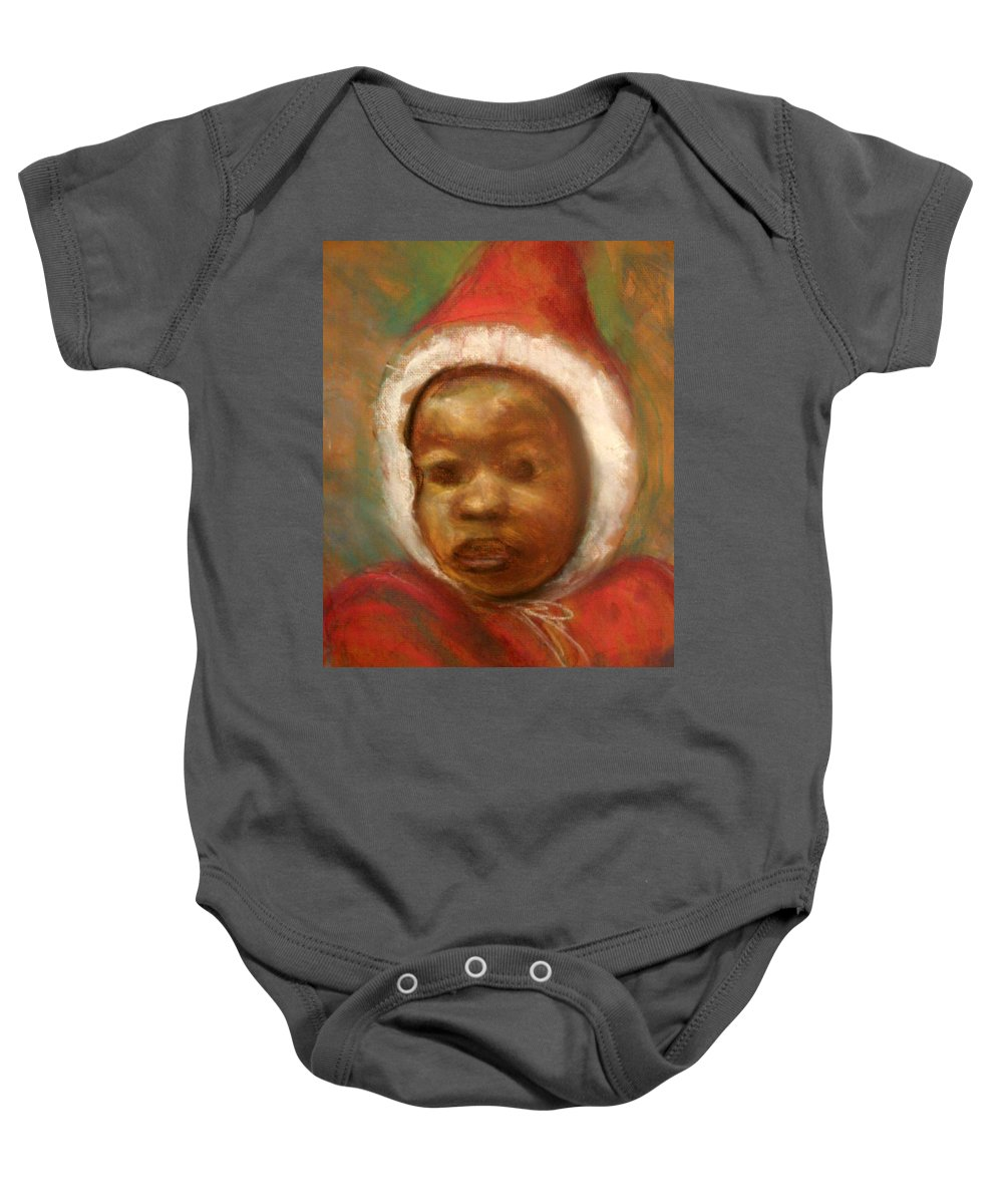 Portrait Baby Onesie featuring the drawing Boy In Red by Jan Gilmore