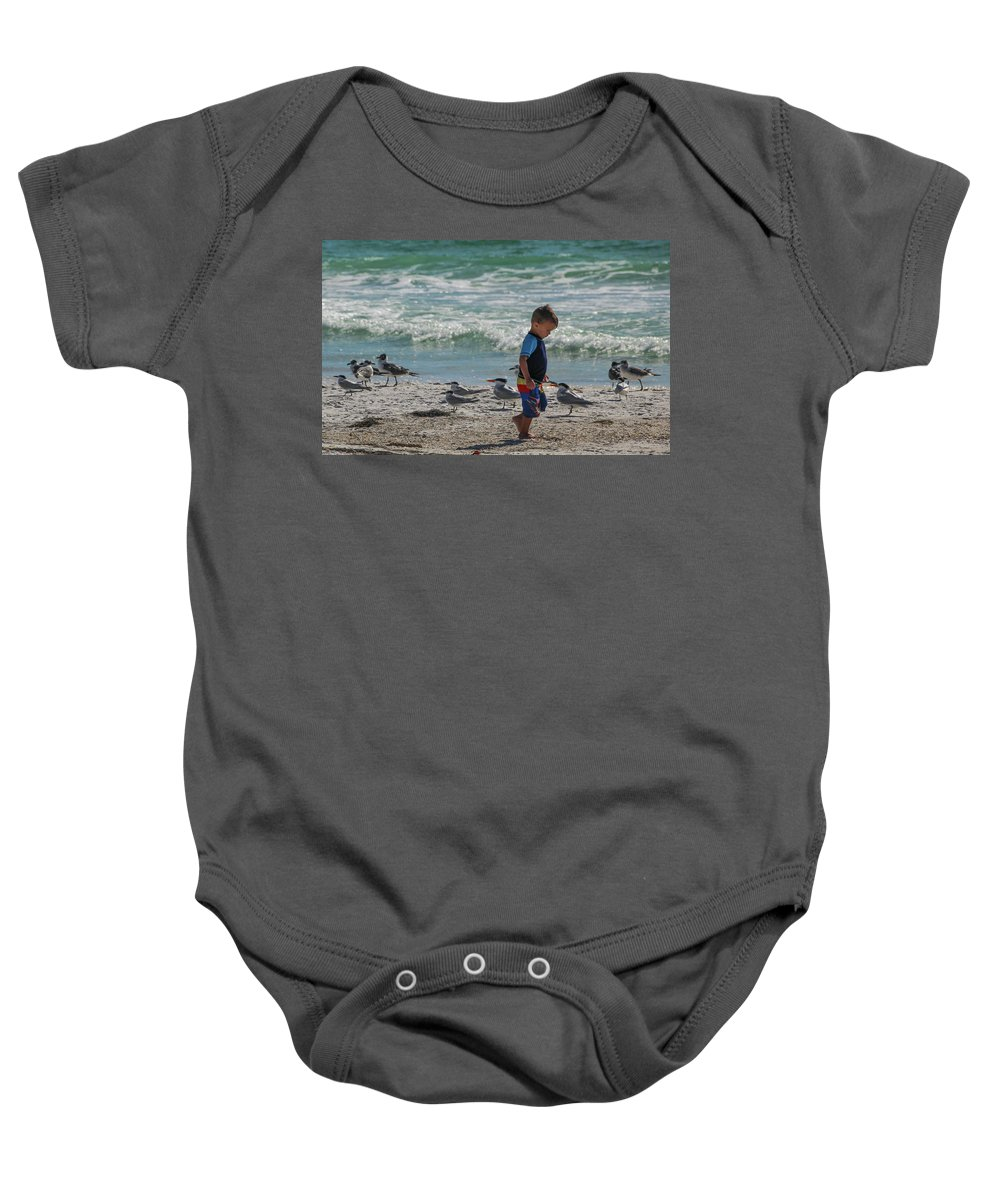 Little Boy Baby Onesie featuring the photograph Boy On Beach by Joann Waggoner