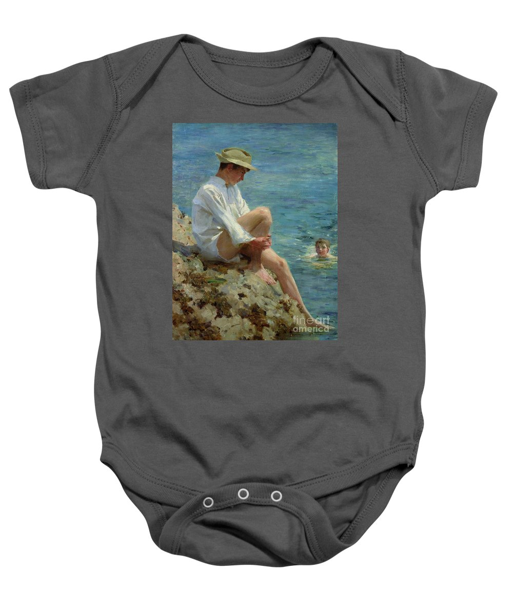 Boys Baby Onesie featuring the painting Boys Bathing by Henry Scott Tuke