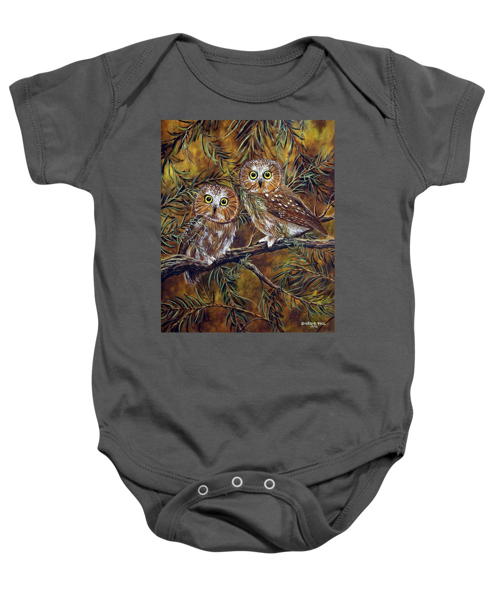 Owls Baby Onesie featuring the painting Branch Buddies by David G Paul