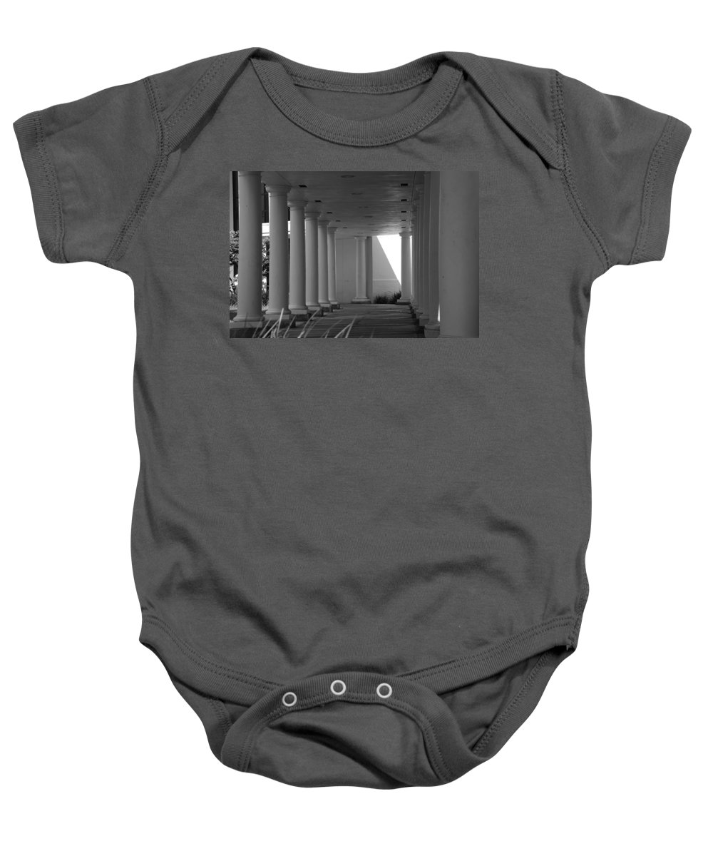 Black And White Baby Onesie featuring the photograph Breezeway by Rob Hans
