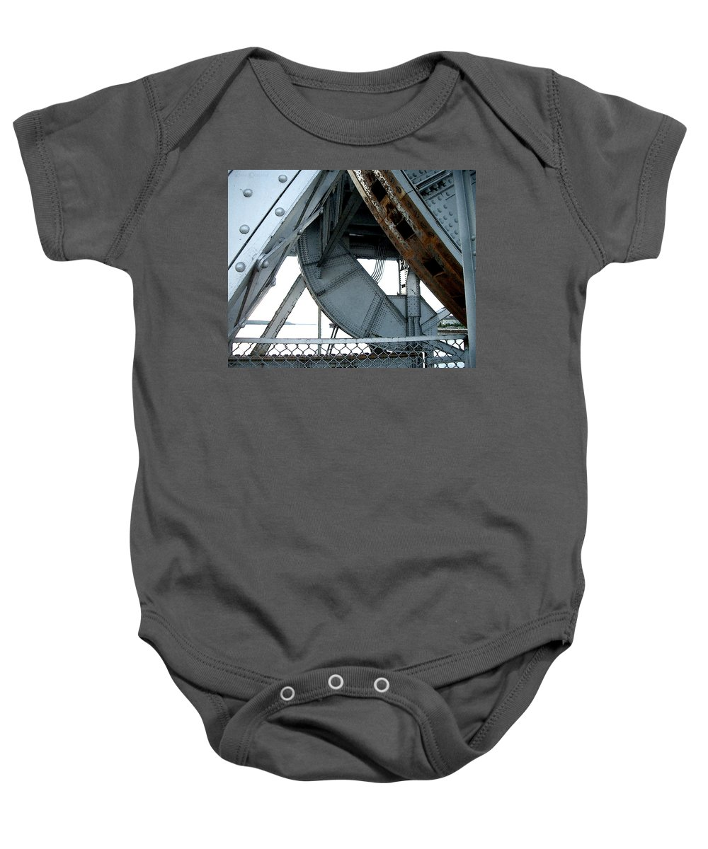 Steel Baby Onesie featuring the photograph Bridge Gears by Tim Nyberg