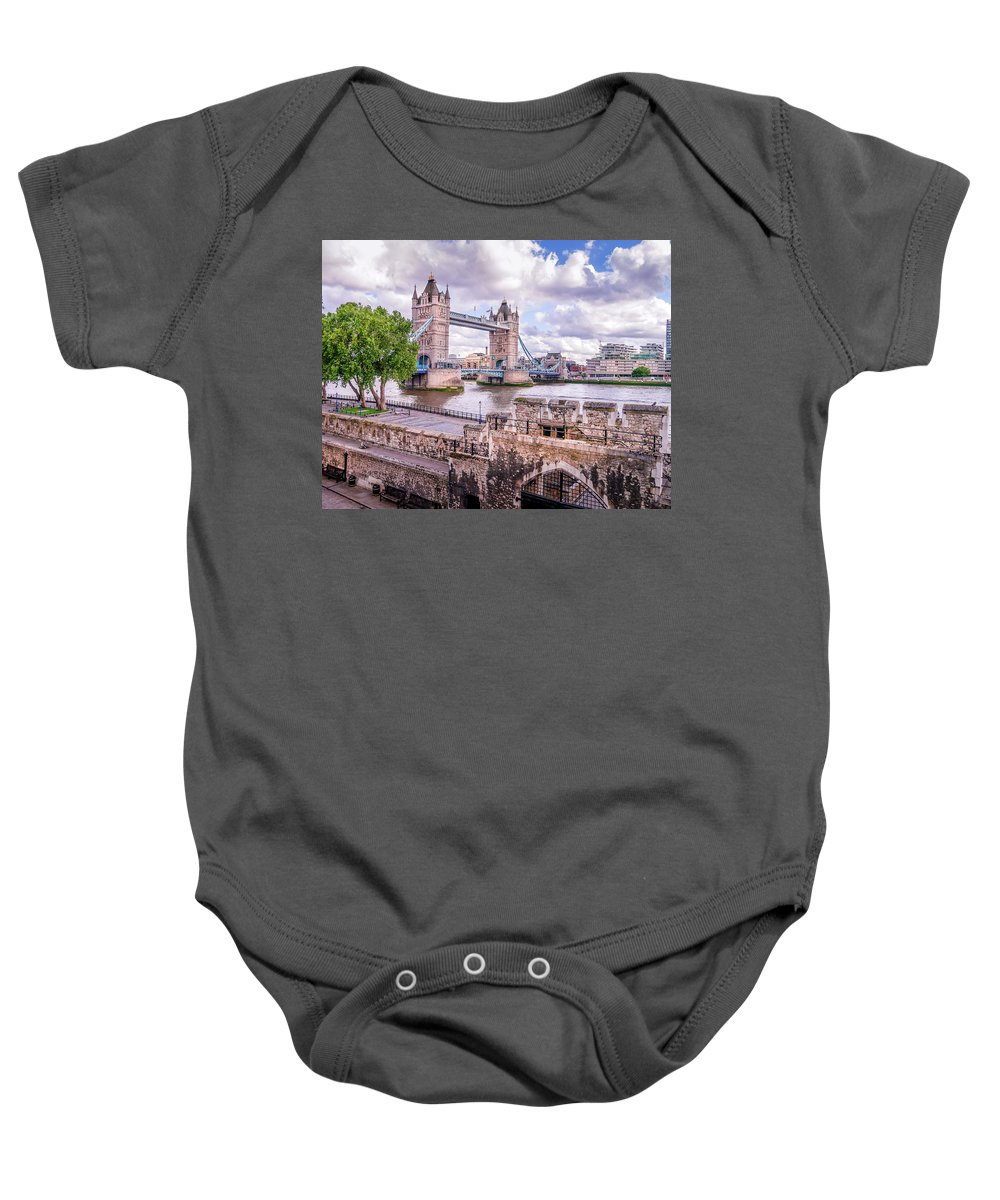Bridge Baby Onesie featuring the photograph Bridge Over The Thames by Geoff Eccles