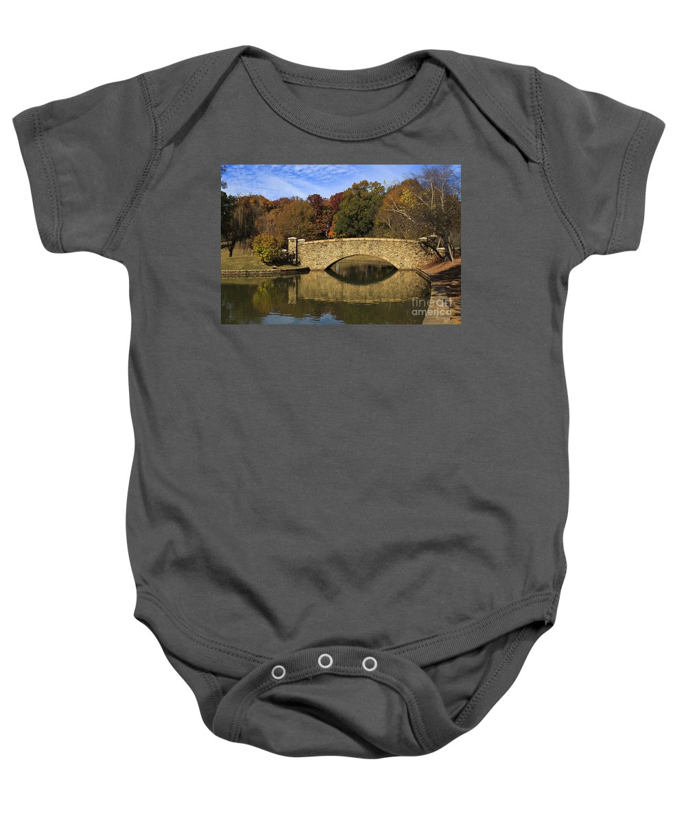 Freedom Baby Onesie featuring the photograph Bridge Reflection by Jill Lang