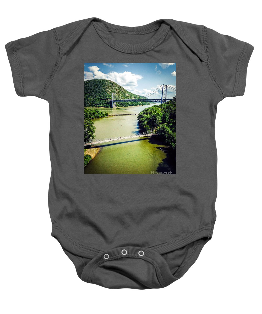 Ny Baby Onesie featuring the photograph Bridges Through The Valley by Keith Rousseau