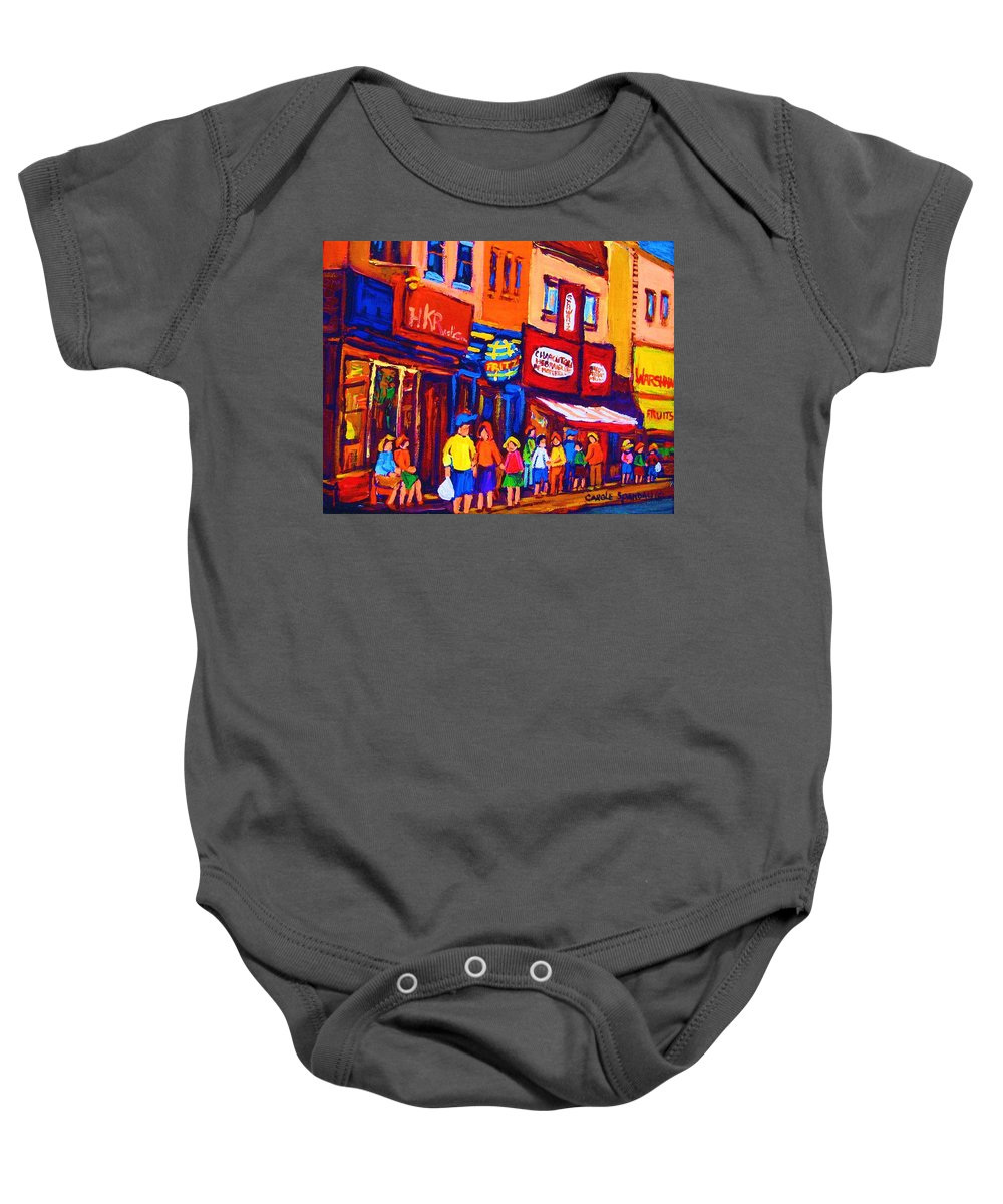Schwartz's Hebrew Deli Baby Onesie featuring the painting Bright Lights On The Main by Carole Spandau