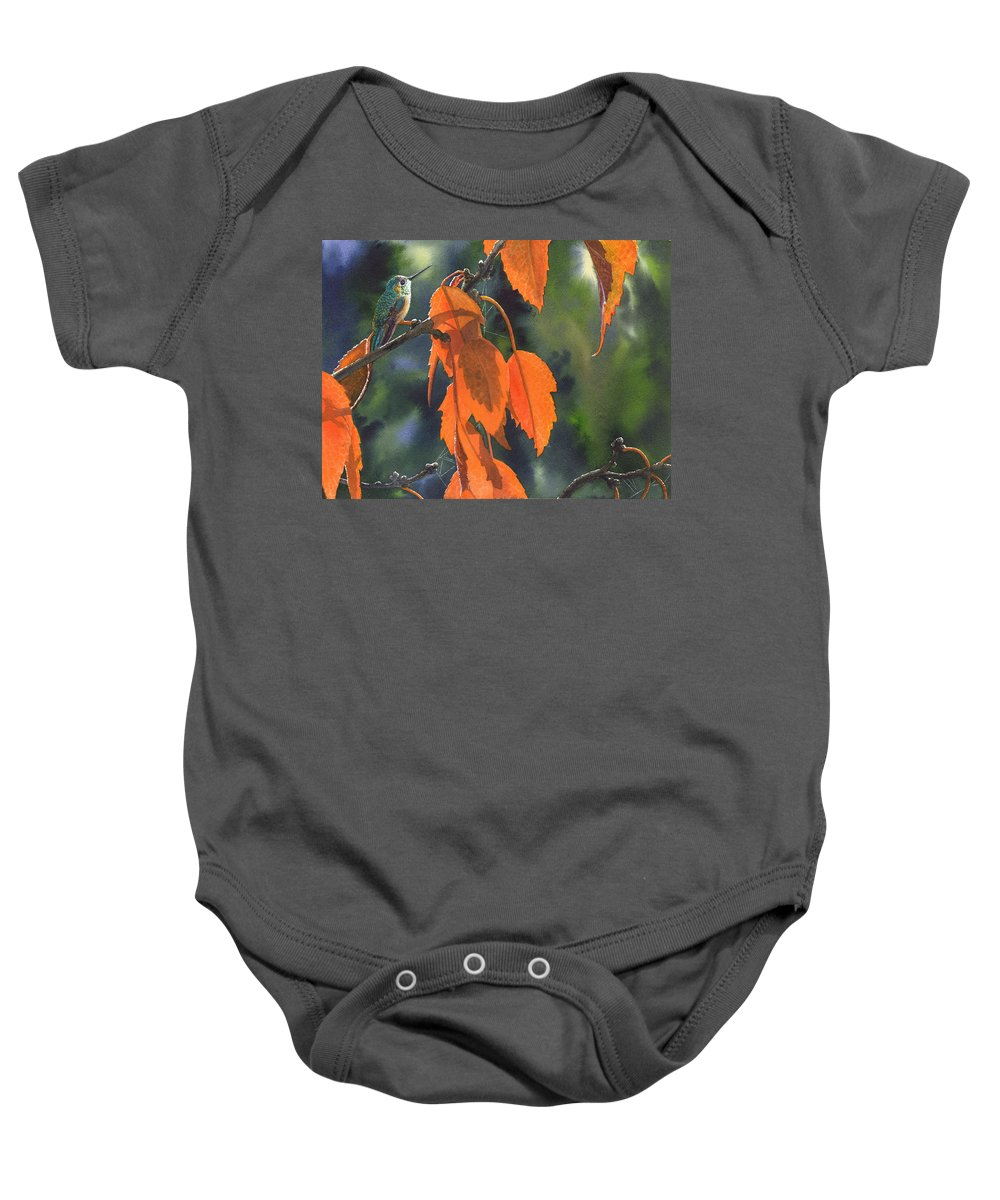 Leaves Baby Onesie featuring the painting Bright Orange Leaves by Catherine G McElroy