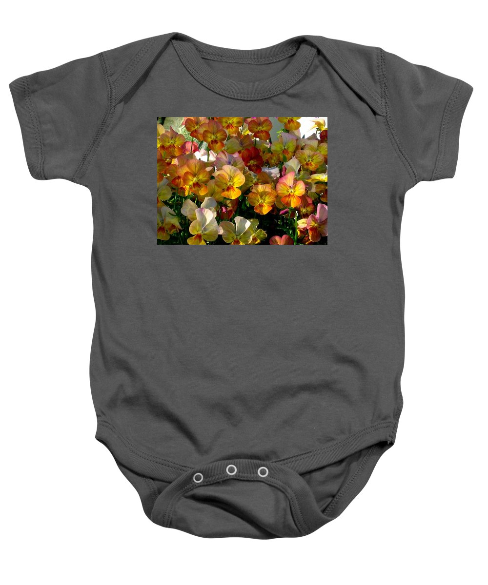 Pansy Baby Onesie featuring the photograph Bright Shining Faces by Marla McFall
