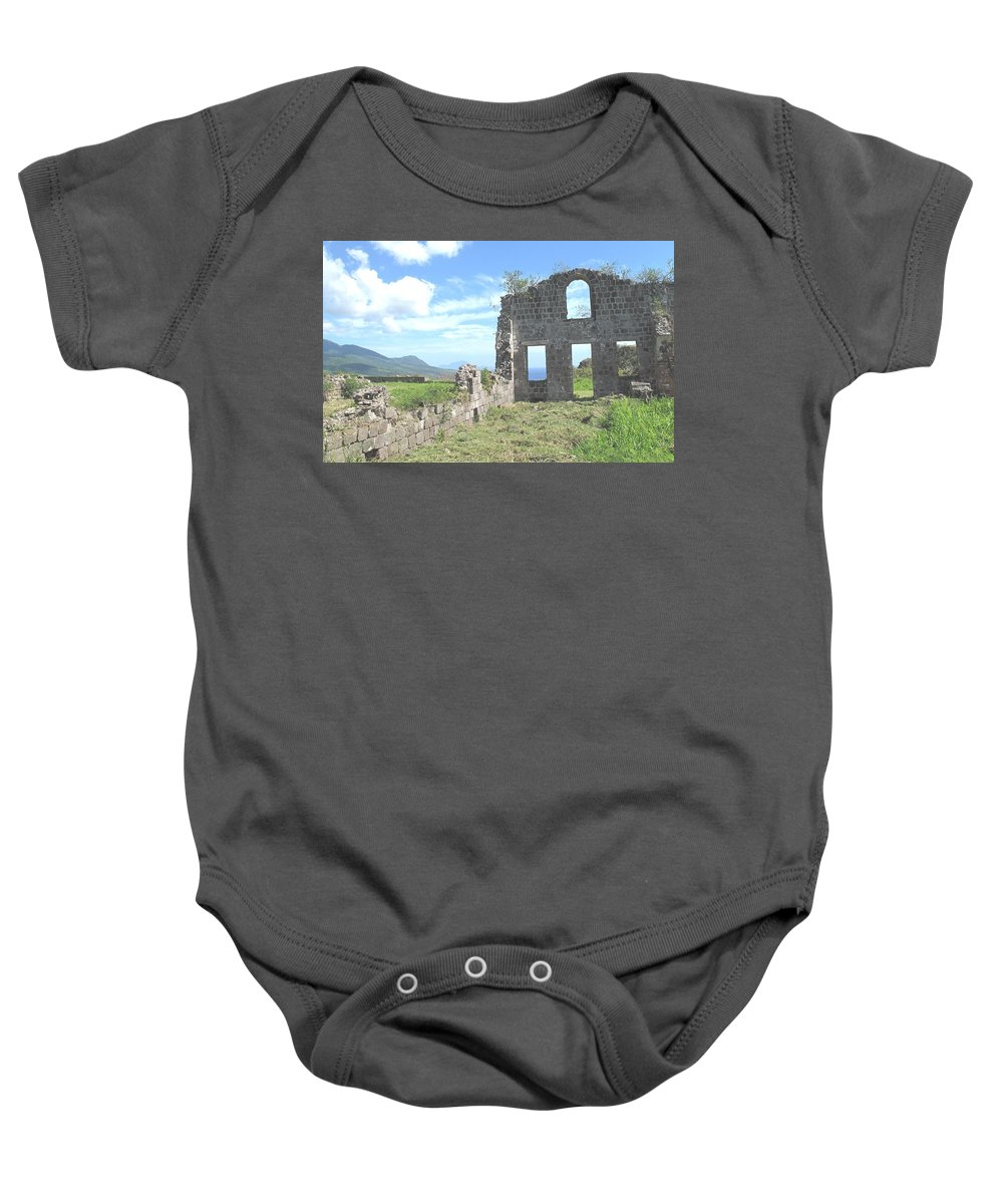 St Kitts Baby Onesie featuring the photograph Brimstone Ruins by Ian MacDonald