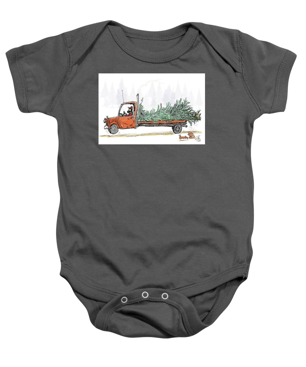 Flatbed Baby Onesie featuring the digital art Bringing Home To The Mrs. by Debra Baldwin