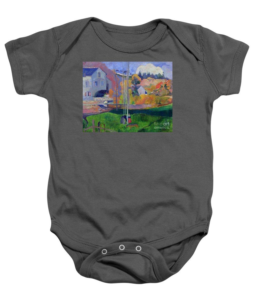 Brittany Landscape: The David Mill Baby Onesie featuring the painting Brittany Landscape by Paul Gauguin