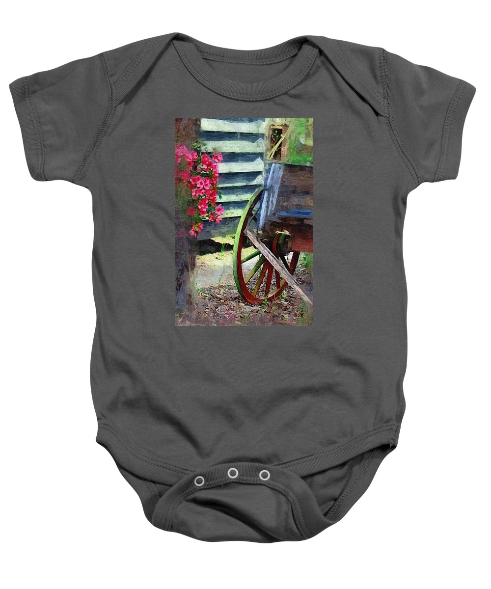 Wagon Baby Onesie featuring the photograph Broken Wagon by Donna Bentley