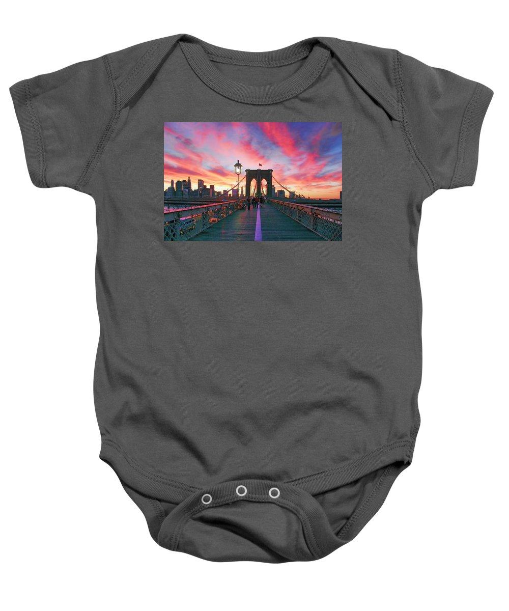 Brooklyn Baby Onesie featuring the photograph Brooklyn Sunset by Rick Berk