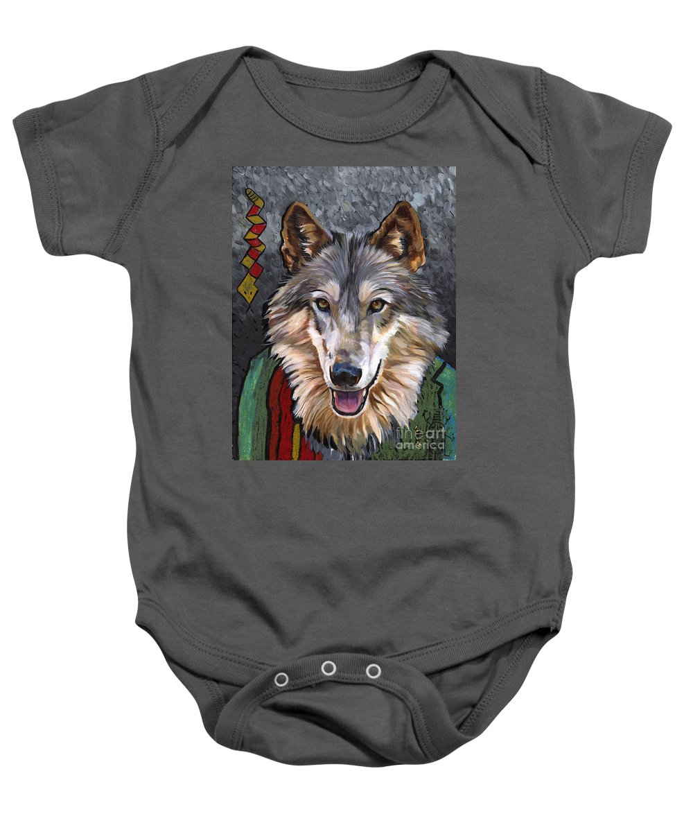 Wolf Baby Onesie featuring the painting Brother Wolf by J W Baker