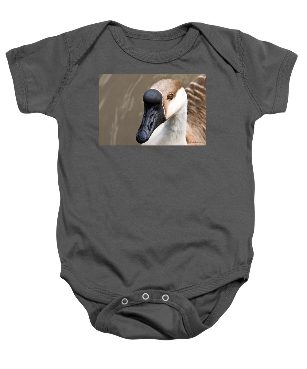 Chinese Brown Goose Baby Onesie featuring the photograph Brown Eye by Christopher Holmes