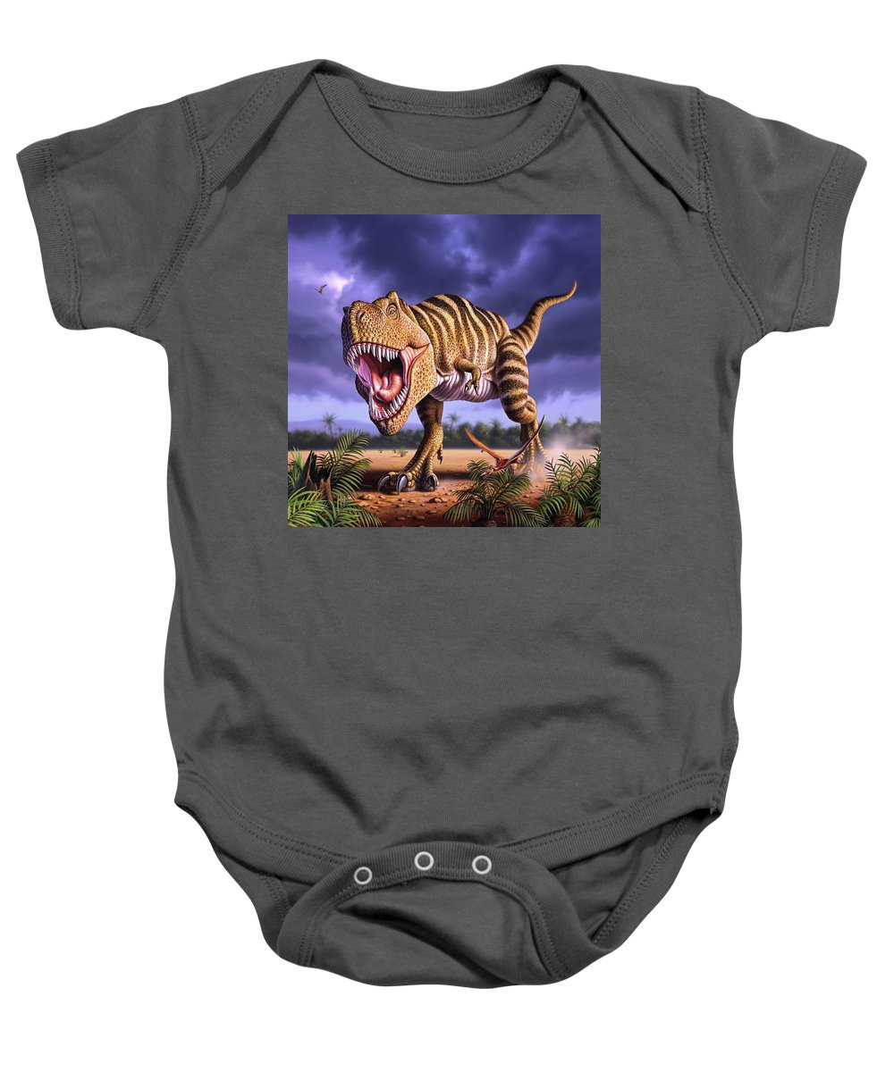 Dinosaur Baby Onesie featuring the digital art Brown Rex by Jerry LoFaro