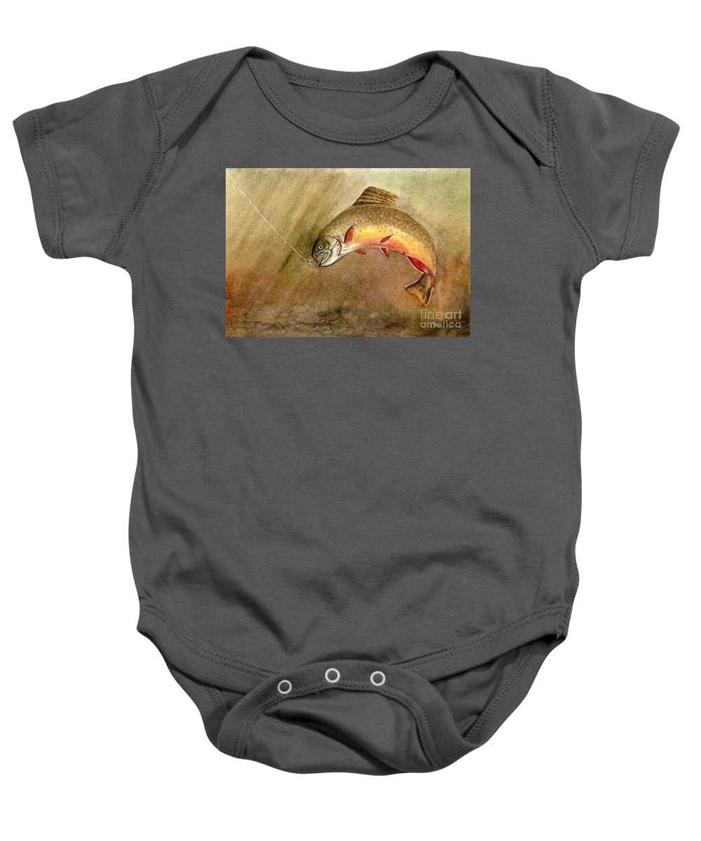 Trout Baby Onesie featuring the painting Brown Trout by Mary Tuomi