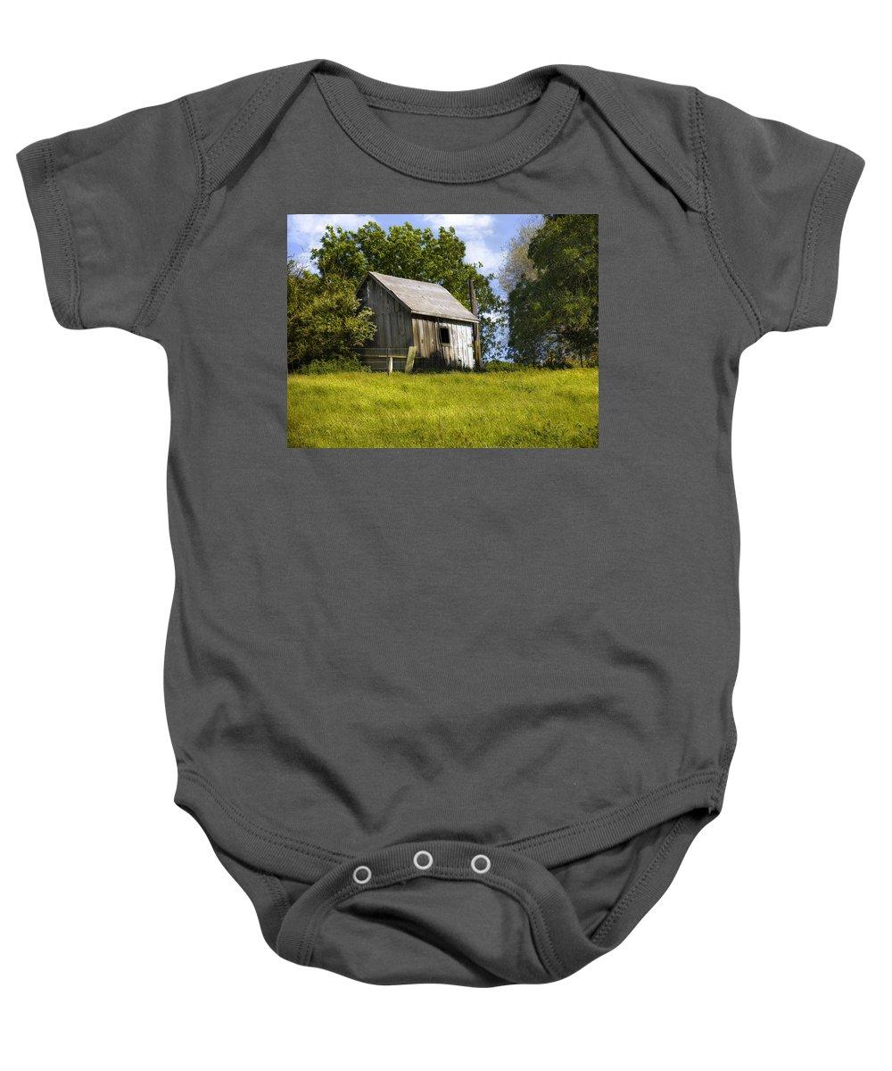 Landscape Baby Onesie featuring the photograph Brushy Peak Cabin by Karen W Meyer