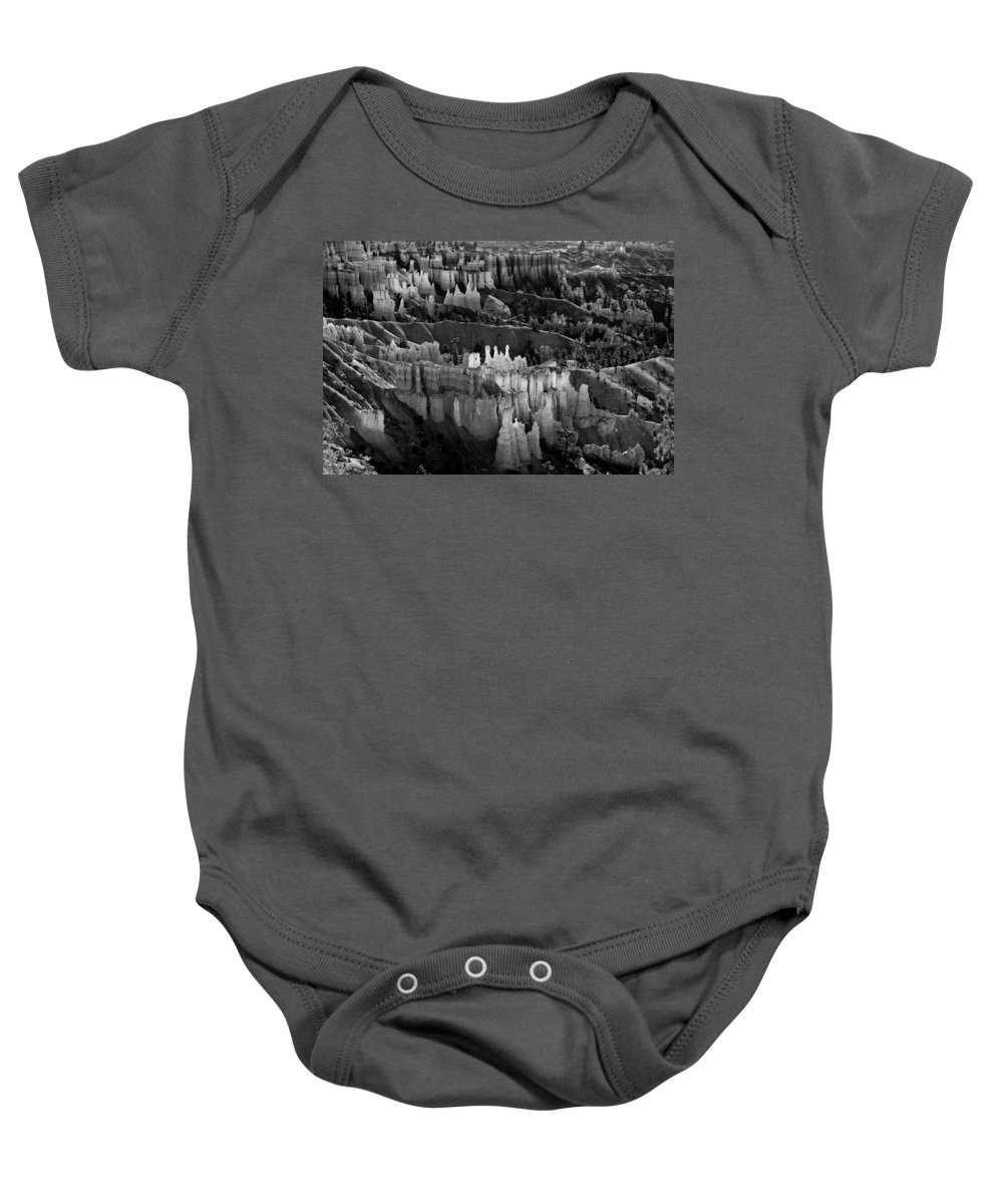 Bryce Canyon Baby Onesie featuring the photograph Bryce Canyon In Black And White by James BO Insogna