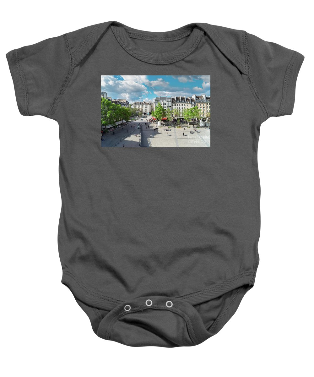Place Baby Onesie featuring the photograph Georges Pompidou Square by Anastasy Yarmolovich