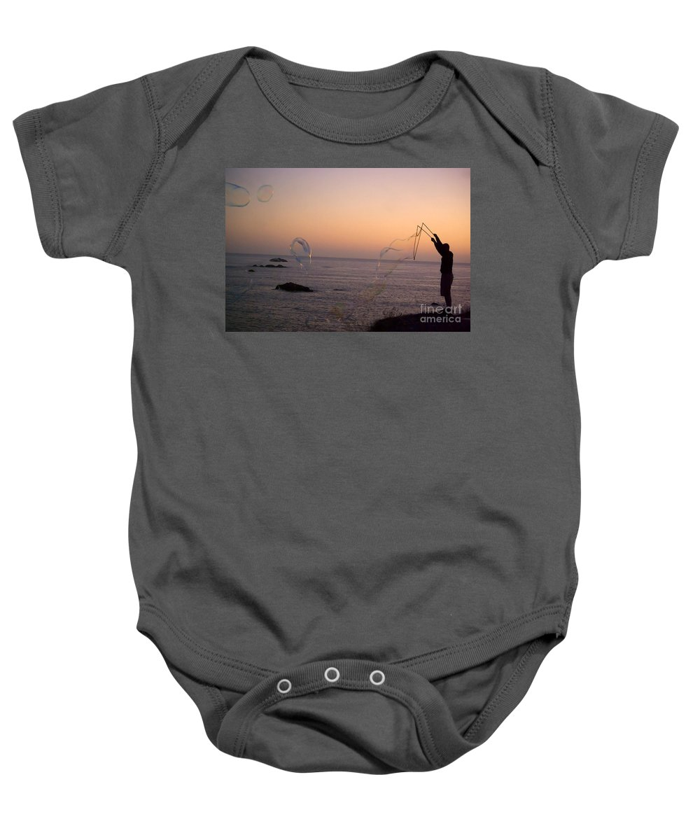 Bubbles Baby Onesie featuring the photograph Bubbles On The Beach by Jim And Emily Bush