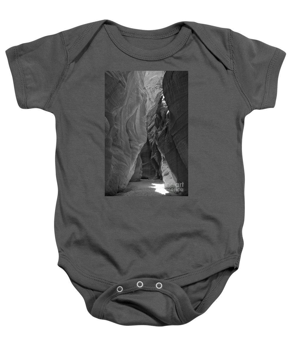 Slot Canyon Baby Onesie featuring the photograph Buckskin In Black And White by Adam Jewell
