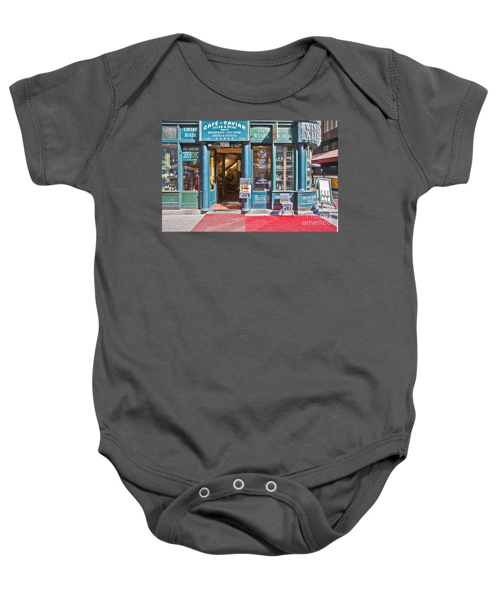 Budapest Baby Onesie featuring the photograph Budapest Storefront by Madeline Ellis