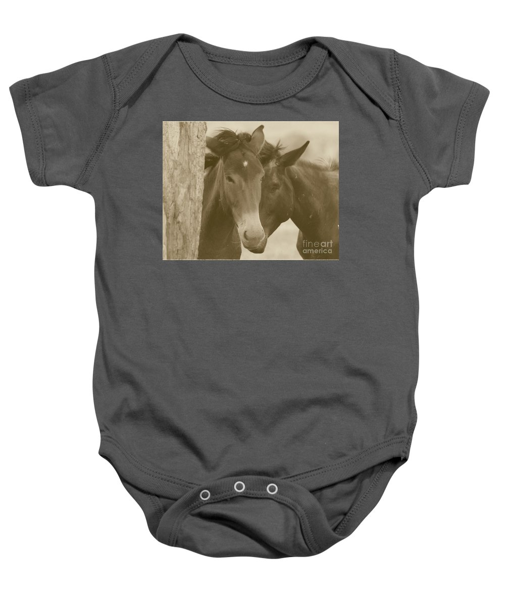 Sepia Baby Onesie featuring the photograph Buddies by Brandi Maher