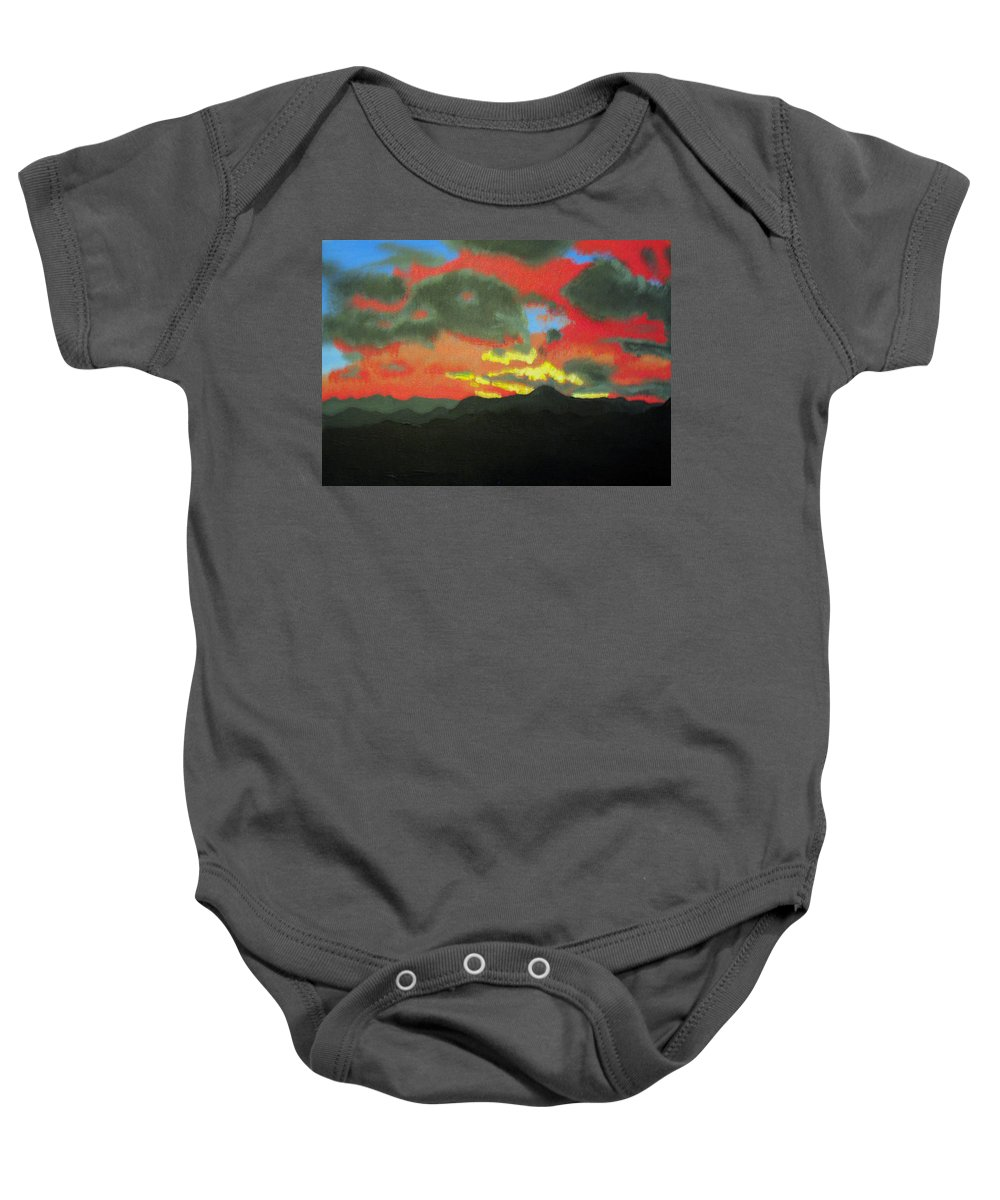 Sunset Baby Onesie featuring the painting Buenas Noches by Marco Morales