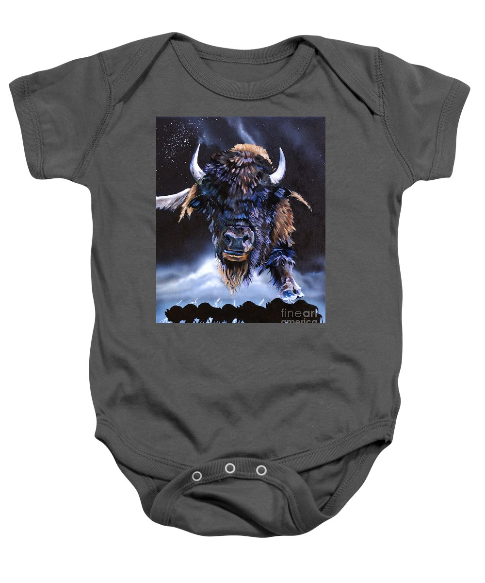 Buffalo Baby Onesie featuring the painting Buffalo Medicine by J W Baker