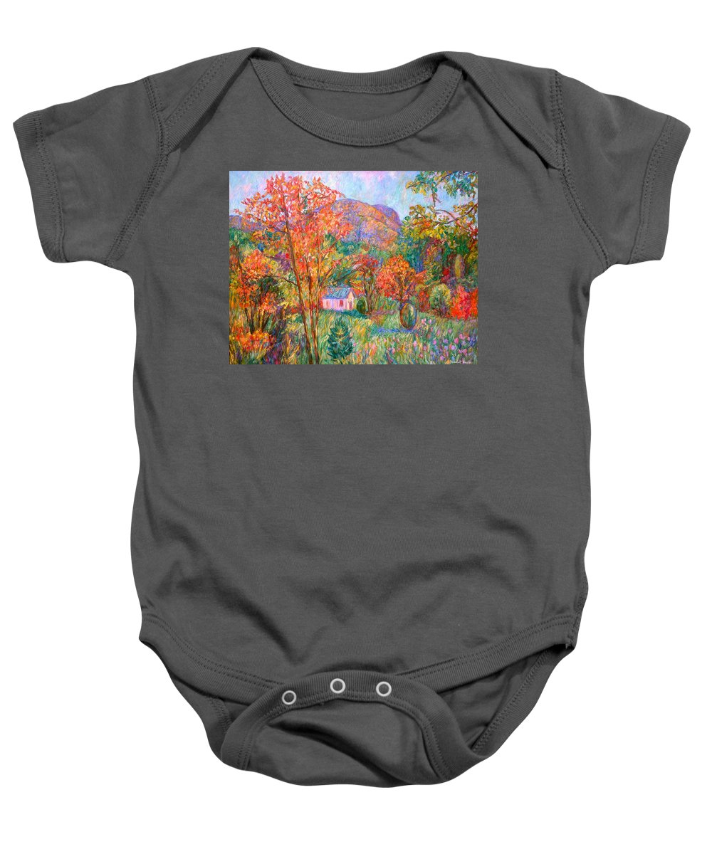 Landscape Baby Onesie featuring the painting Buffalo Mountain in Fall by Kendall Kessler