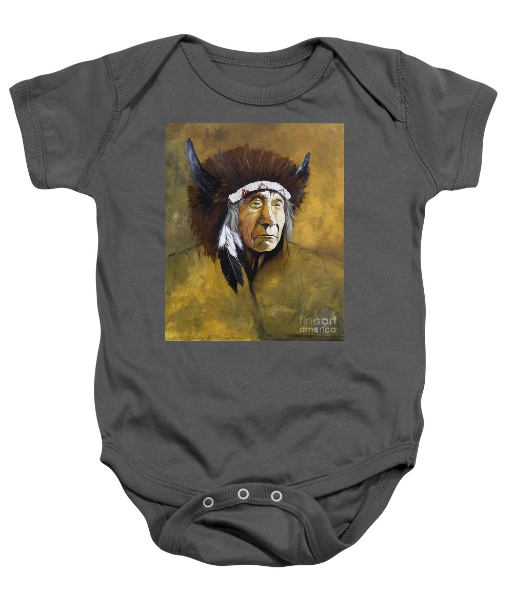 Shaman Baby Onesie featuring the painting Buffalo Shaman by J W Baker