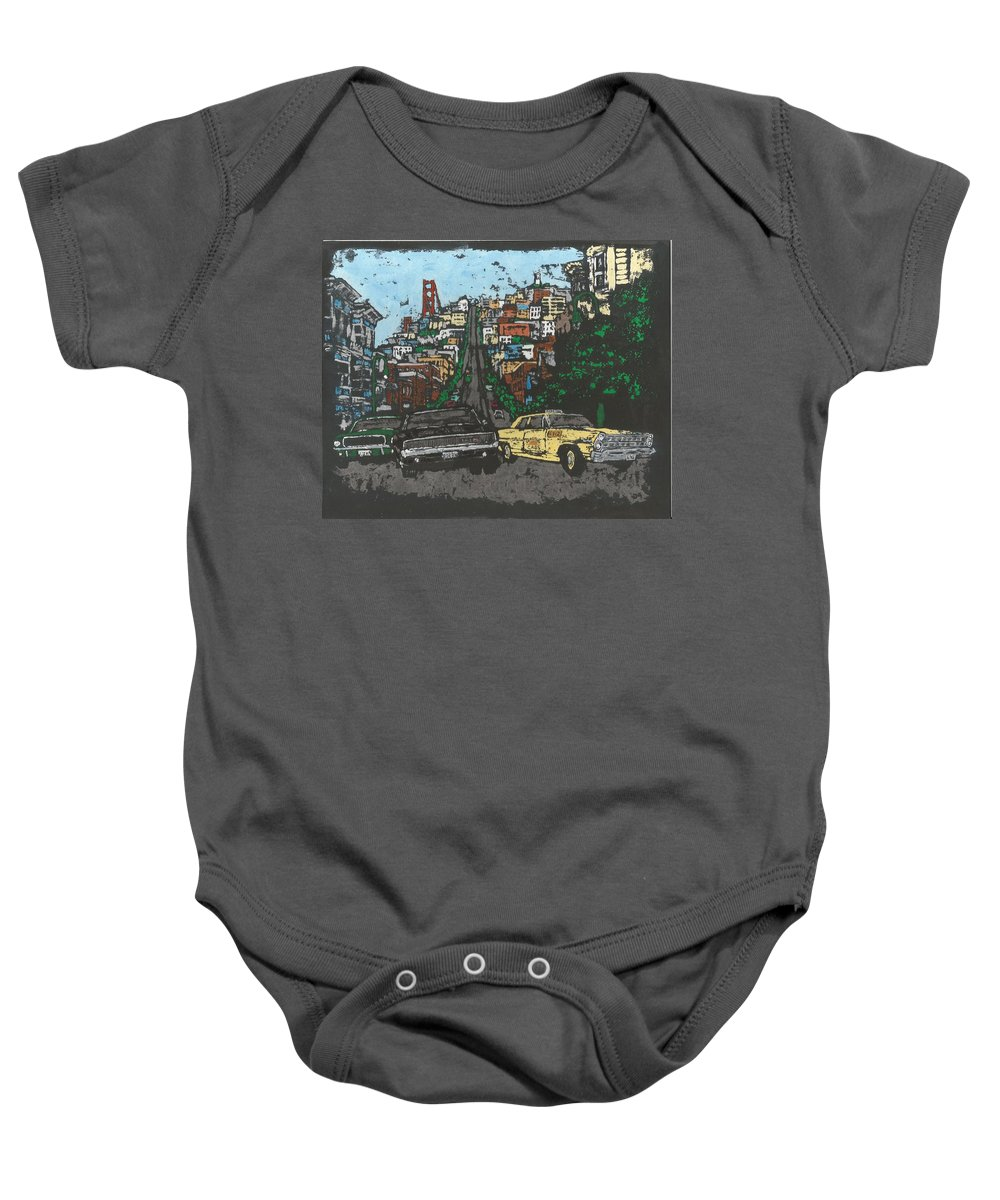 Mcqueen Baby Onesie featuring the painting Bullitt Chase by Dick Gallagher