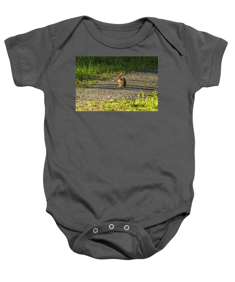 Bunny Baby Onesie featuring the photograph Bunny Eating On The Run by Belinda Greb
