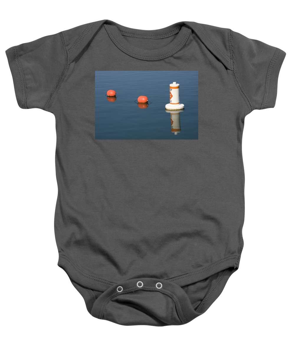 Chicago Windy City Buoy Water Lake Michigan Blue Reflection Mirror Orange Baby Onesie featuring the photograph Buoy by Andrei Shliakhau