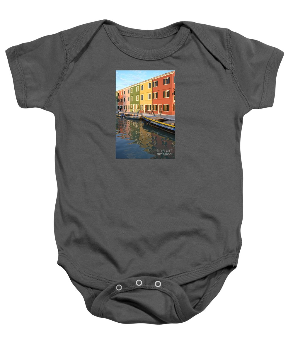 Burano Baby Onesie featuring the photograph Burano Italy 1 by Rebecca Margraf