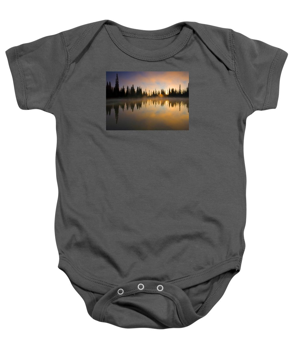 Lake Baby Onesie featuring the photograph Burning Dawn by Mike Dawson