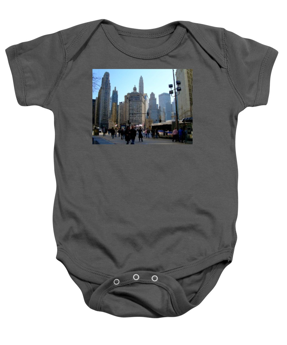 Archtecture Baby Onesie featuring the digital art Bus On Miracle Mile by Anita Burgermeister
