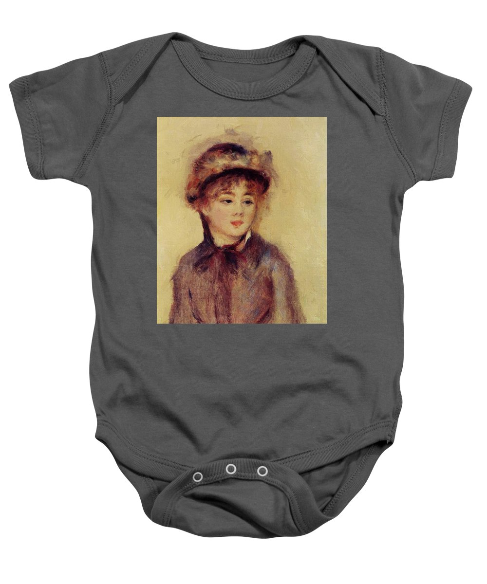 Bust Baby Onesie featuring the painting Bust Of A Woman Wearing A Hat 1881 by Renoir PierreAuguste