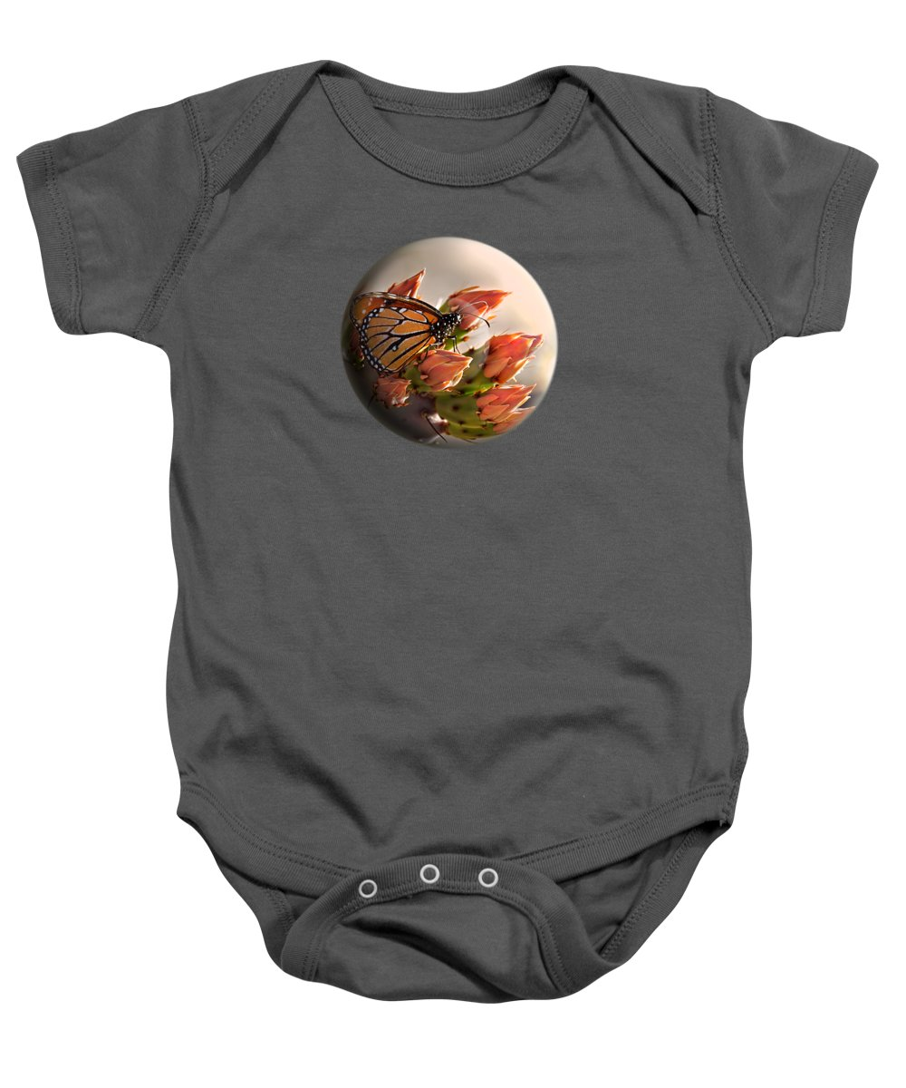 Butterfly Baby Onesie featuring the photograph Butterfly In A Globe by Phyllis Denton