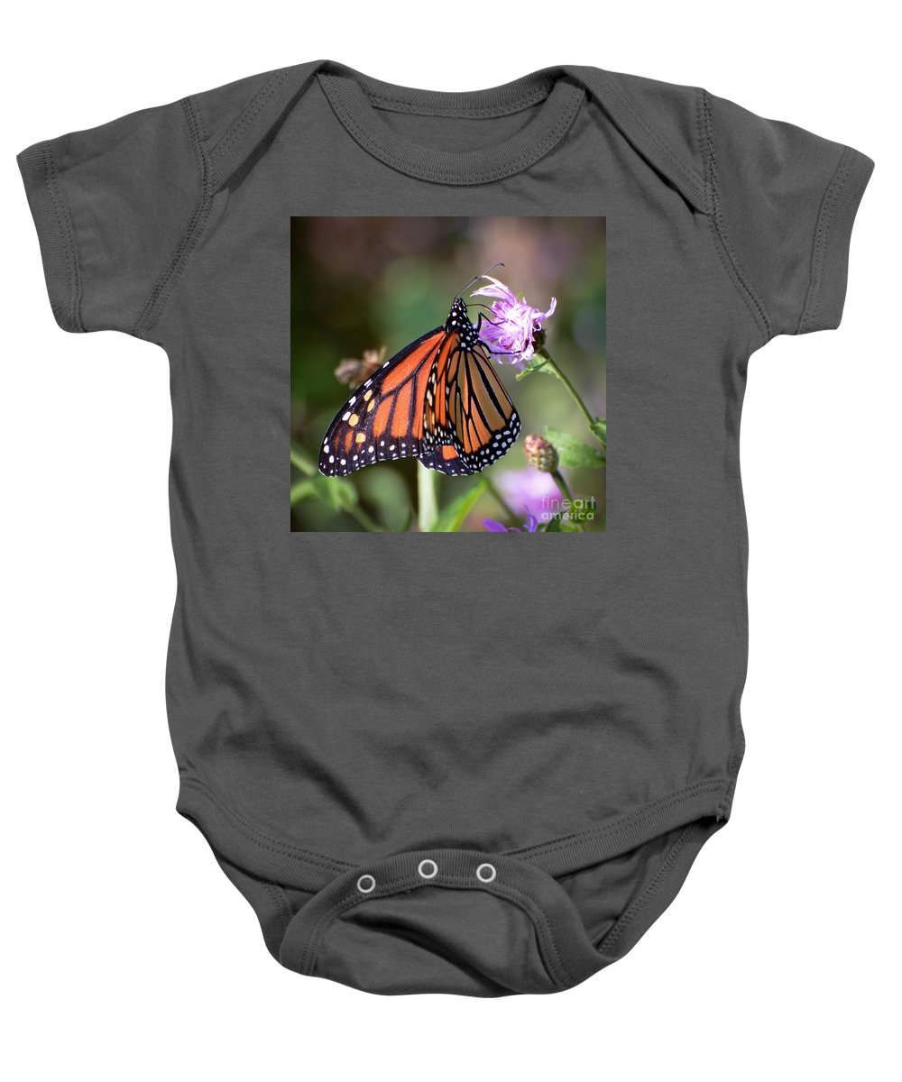 Monarch Butterfly Baby Onesie featuring the photograph Butterfly - The Monarch by Kerri Farley