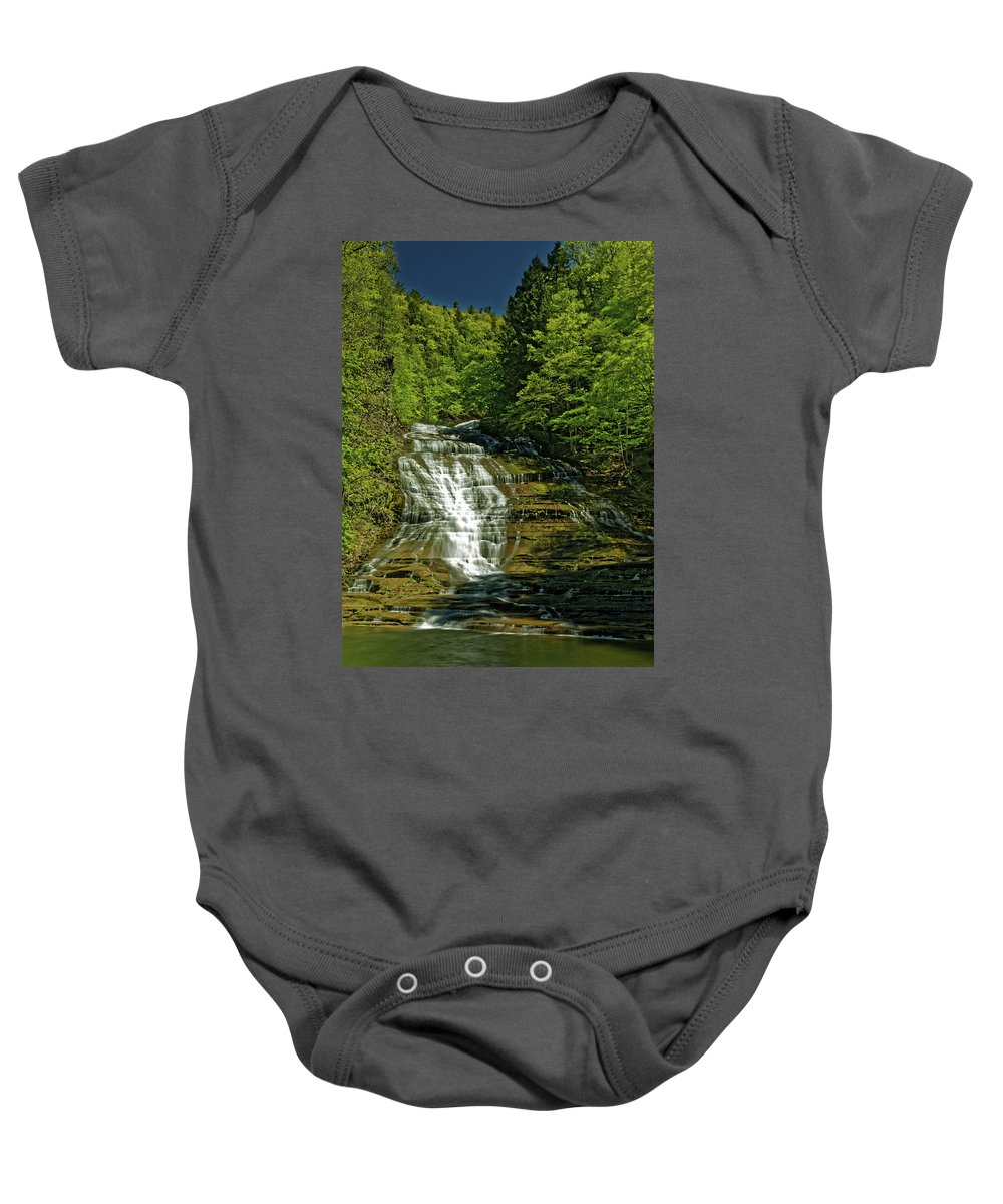 Buttermilk Falls Baby Onesie featuring the photograph Buttermilk Falls by Doolittle Photography and Art