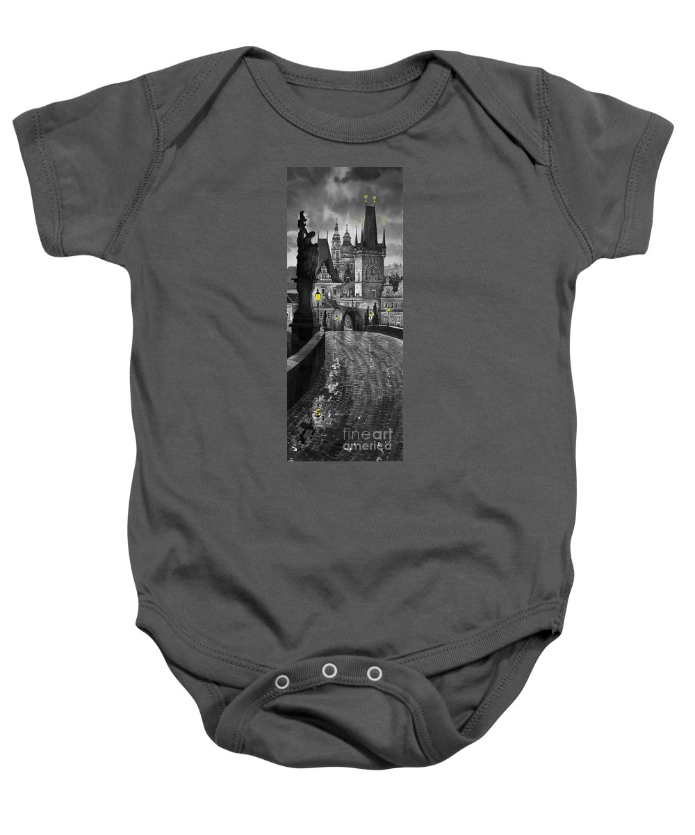 Prague Baby Onesie featuring the painting Bw Prague Charles Bridge 03 by Yuriy Shevchuk